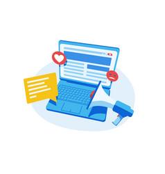 Modern laptop on table vector
