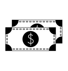 Money cash billets symbol isolated in black and vector