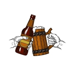 mug beer with foam and a brown bottle vector image