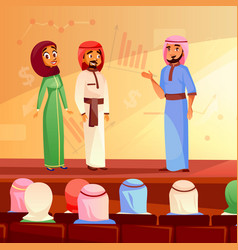 muslim people conference cartoon vector image