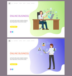 online business boss in office using pc computer vector image