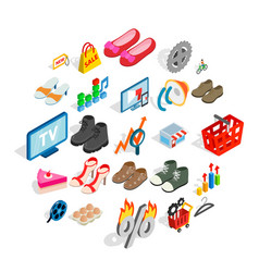 Online business icons set isometric style vector