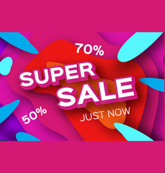 paper super sale discount poster in paper cut vector image