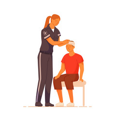 Paramedic and man patient head injury isolated on vector