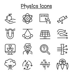Physics icon set in thin line style vector