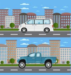 pickup truck and minivan in urban landscape vector image