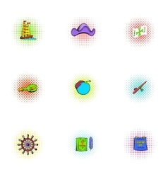 Pioneer icons set pop-art style vector image