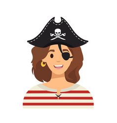 pirate girl character in flat style vector image