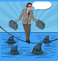 pop art businessman with sharks vector image