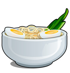 Porcelain bowl with egg noodles and a cut in half vector