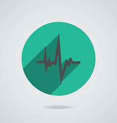 Pulse heart rate black icon in flat style vector image