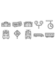 Railway train station icons set outline style vector