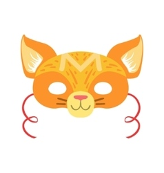 Red Cat Animal Head Mask Kids Carnival Disguise vector
