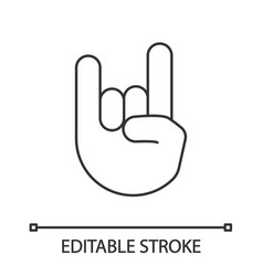 rock on gesture linear icon vector image