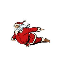 santa claus flying superhero vector image