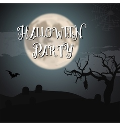 Scary Halloween Night Poster with Big Moon Bat vector image