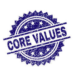 Scratched textured core values stamp seal vector