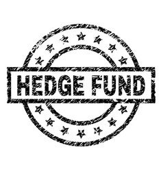 Scratched textured hedge fund stamp seal vector