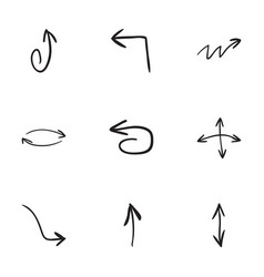 set of 9 hand drawn arrow icons vector image