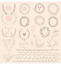 Set of Floral Design Elements Wedding set with vector image