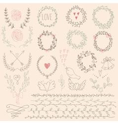 Set of Floral Design Elements Wedding set with vector
