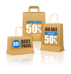 Shopping poster with paper bags vector