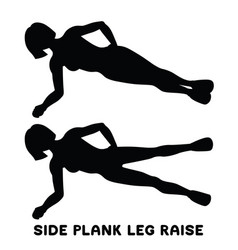 side plank leg raise sport exersice silhouettes vector image