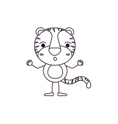 Sketch contour caricature of cute tiger astonished vector