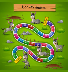 Snakes and ladders game donkeys theme vector