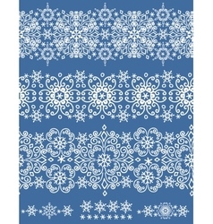 Snowflakes lace seamless borderWinter pattern vector image