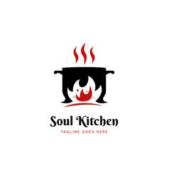soul kitchen hot pot restaurant logo icon vector image