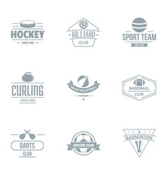 Sport day logo set simple style vector