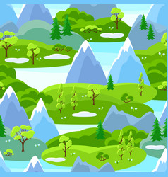 spring seamless pattern with trees mountains and vector image
