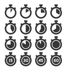 Stopwatch icons set on white background vector