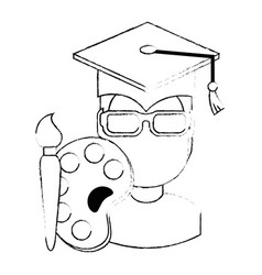 student graduated with paint brush and pallette vector image