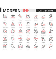 summer time thin red black line icon vector image