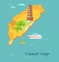 taiwan map with dragon tiger tower vector image