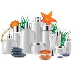Thalassotherapy with Cosmetic Packaging vector image