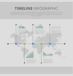 timeline infographic with graph and diagram vector image