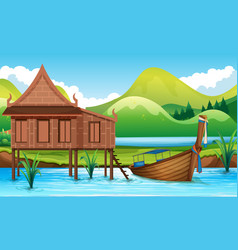 traditional thai house next to river vector image