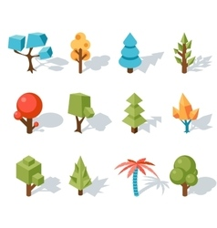 Tree low poly icons isometric 3D vector image