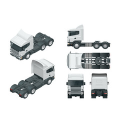 Truck tractor or semi-trailer truck view front vector