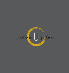 U letter logo design with gold rounded texture vector