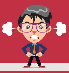 Upset anger employee cartoon character vector