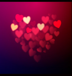 Valentines day card made of bokeh hearts vector