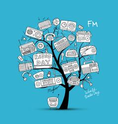 vintage radio tree sketch for your design vector image