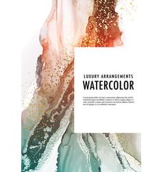 Watercolor alcohol ink liquid flow pouring art vector