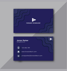 wavy blue business card vector image
