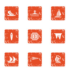 Wealthier icons set grunge style vector