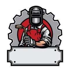 Welder with welding tools vector